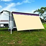 CAMWINGS RV Awning Privacy Screen Shade Panel Kit Sunblock Shade Drop 8 x 16ft, Grey