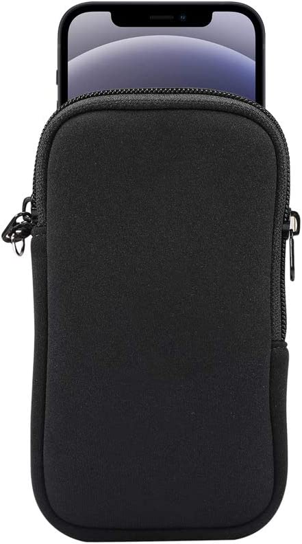 Small Cell Phone Sleeve Case Neoprene Shock Absorbing Proof Pouch Skin Cover w Neck Strap for iPhone 12 Mini,11 Pro,XS,X,8,SE 2020/ Galaxy A01 S10e A10e A20e/ Pixel 4a,Pixel 5,4,3/ Moto G7 Play(Black)