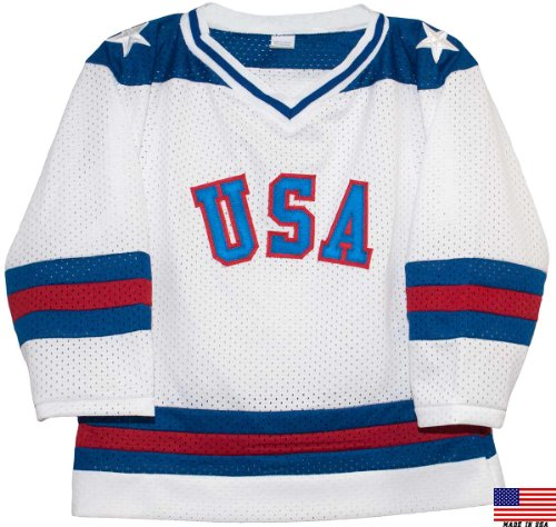 1980 USA Olympic Miracle on Ice Hockey Jersey (Child Sizes) (White, 6/7)