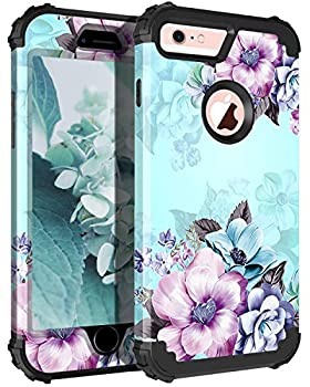 Casetego Compatible with iPhone 6S Case,iPhone 6 Case,Floral Three Layer Heavy Duty Hybrid Sturdy Shockproof Full Body Protective Cover Case for Apple iPhone 6S/6,Blue Flower