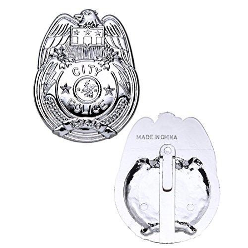 NET TOYS Plaque Police Insigne de Police argenté Badge Police Insigne Policier Attrape Plaque de Police Signe de Reconnaissance flics