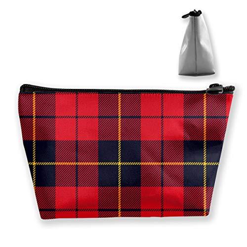 Sac de rangement avec motif tartan écossais réglable pour pinceaux de maquillage, produits de toilette