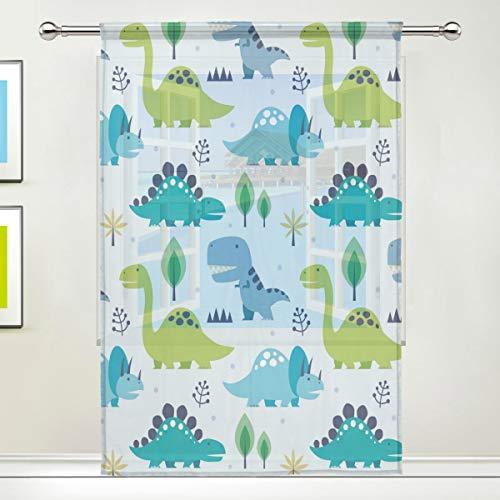 BIGJOKE Fenstervorhang mit Dinosaurier-Motiv, für Küche, Wohnzimmer, Schlafzimmer, Büro, Voile, 1 Stück