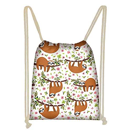 Bolsa de playa con cordón para niñas, regalo de fiesta, regalo de perezoso, estampado floral, bolsa de cincha deportiva para mujer, natación, correr, entrenamiento, yoga