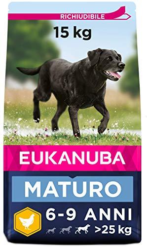 Eukanuba, Cibo Secco Specifici per la Crescita Sana dei Cani Maturi, Taglia Grande, 6-9 Anni, Crocchette Cani con Pollo, 15 Kg