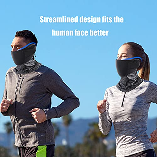 Polma Adjustable Cooling Neck Gaiter, Breathable & Lightweight Bandana Face Mask, Windproof face Cover for Outdoor Sports, UPF 50 Black