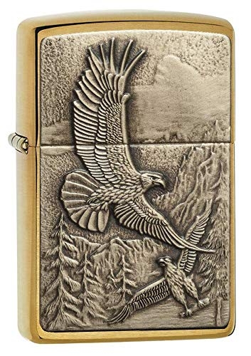 Zippo 20854 Where Eagles Dare Brushed Brass Pocket Lighter, One Size