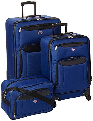 A rich blue soft shell luggage set with a blue carry on luggage bag. We love the exterior pockets which are very useful when you need to keep items close to hand.