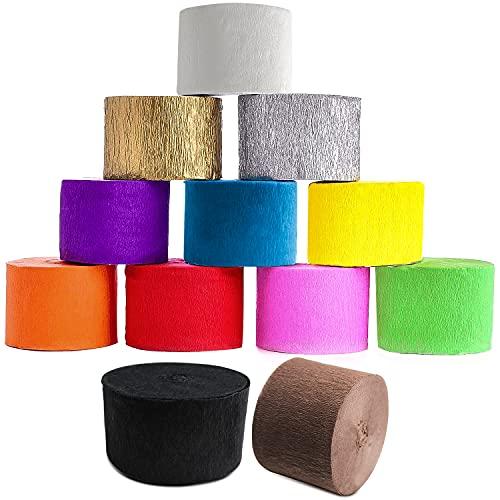 QIQN Krepppapier Kreppbänder 4.5cm x25m Krepp Bänder Bunt Crepe Paper für Hochzeit Geburtstagsfeier Feier Deko Papierfalten Basteln Handarbeiten Papierkunst (12 Rollen)
