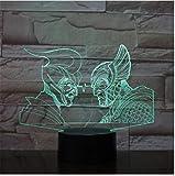 Wzadxy Ancient Greek Roman Warriorss 3D Night light USB LED Lámpara de escritorio Multicolores Iluminación Touch Visual Cool Figure Kids Toys