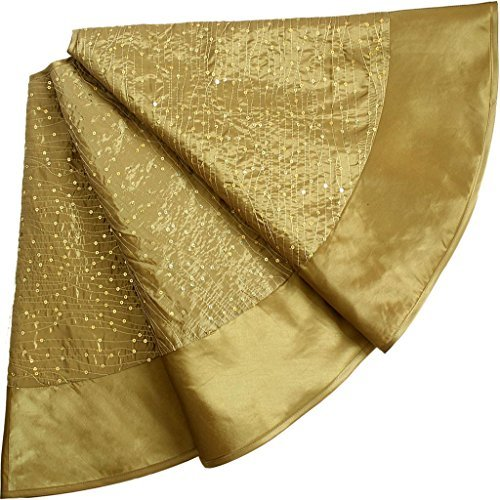 SORRENTO Glitter Sequin Centre ,Faux Silk Border,Gold Christmas Tree Skirt-90CM / 10-15 DAYS DELIVERY