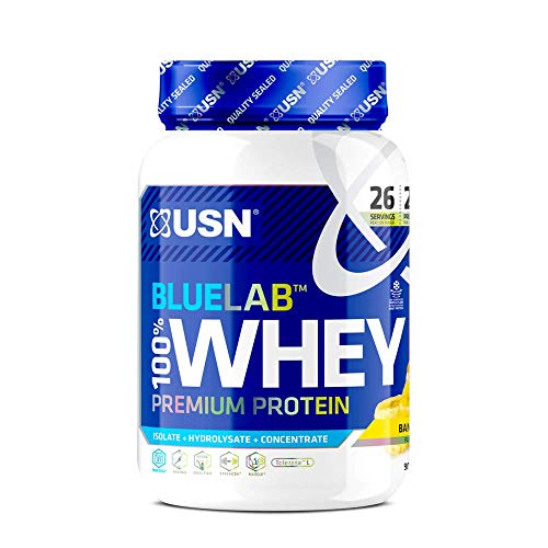 USN Whey Protein Powder: Blue Lab Whey Banana 908 g, Post Workout Muscle Recovery