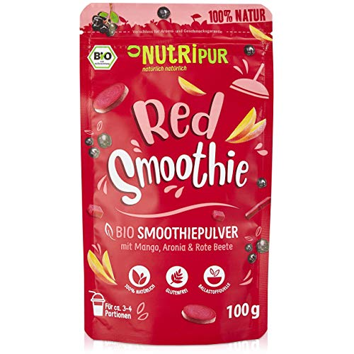 BIO Smoothie Pulver: 100g Red Smoothie Pulver mit Mango, Bio Rote Beete Pulver, Hagebutten Pulver, Bio Aronia Powder uvm. – Roter Smoothie Mix – Bio Smoothiepulver Mix für Drink Food von NutriPur