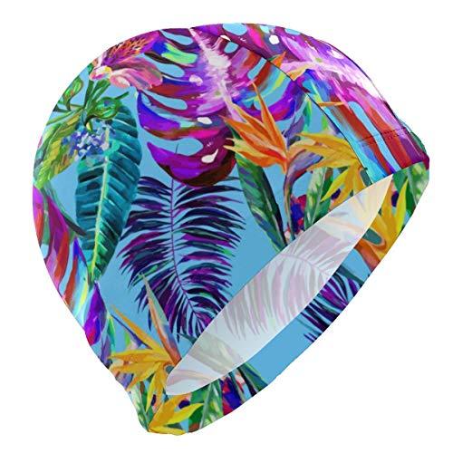 Gebrb Cuffie da Nuoto,Cuffie da Bagno,Cuffia Piscina Island Style Floral Summer Lycra 3D Ergonomic Design Swim cap Swimming