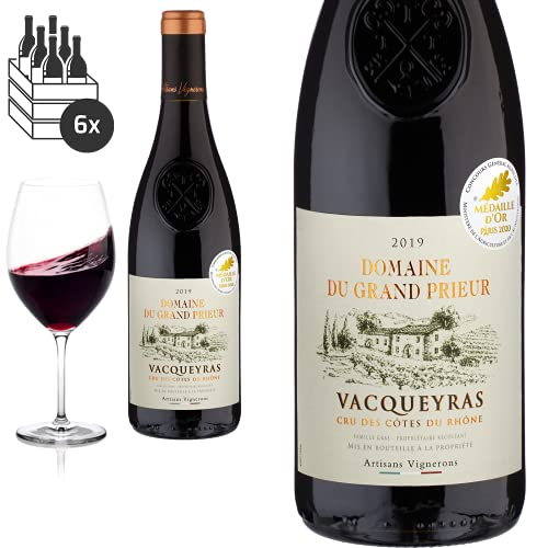 6er Karton 2019 Vacqueyras von Domaine du Grand Prieur - Rotwein