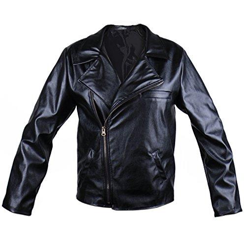 HUALIL Grease T-Birds Jacket Men's Adult Kids 1950s Black Faux Leather Danny Costumes Rock Coat Child Boy, X-L