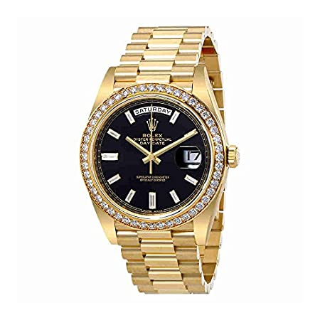 Fashion Shopping Rolex Oyster Perpetual Day-Date Black Dial Automatic Mens 18 Carat Yellow Gold President Watch 228348BKDP