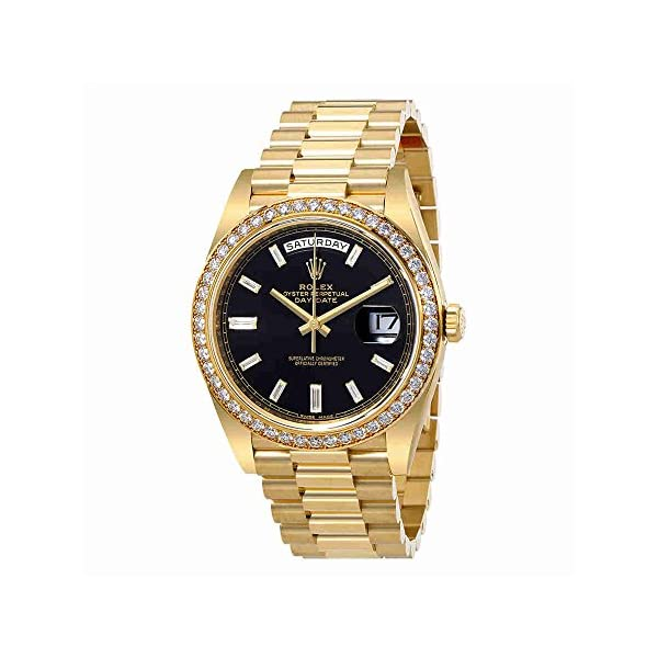 Fashion Shopping Rolex Oyster Perpetual Day-Date Black Dial Automatic Mens 18 Carat Yellow Gold President