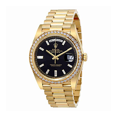 Rolex Oyster Perpetual Day-Date Black Dial Automatic Mens 18 Carat Yellow Gold President Watch...