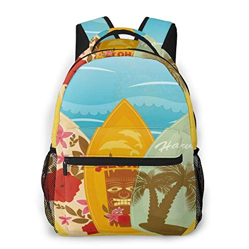 Lawenp School Backpacks Hawaiian Beach Surfboards On Sand Exotic Summer Vacation Sport Vintage Style for Teen Girls&Boys 16 Inch Student Bookbags Laptop Casual Rucksack