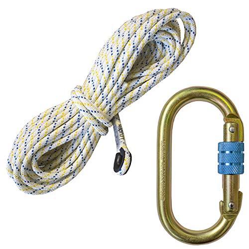 IRUDEK Seil 10,5mm; Semistatisches geflochtenes Seil mit einem Durchmesser von 10,5 mm; Polyamidseil, im Set mit einem Karabinerhaken Modell 981; SEKURALT; verschiedene Längen erhältlich; (30 m)
