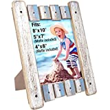 Excello Global Products Rustic Distressed Wooden 8 by 10 in Picture Frame, Blue & White
