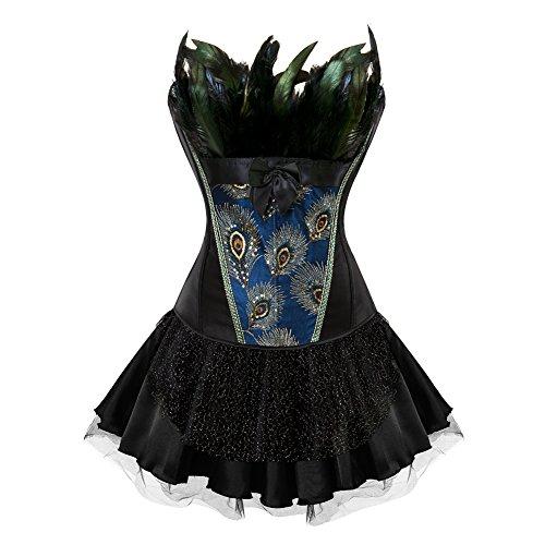 FeelinGirl Vintage Gótico Corsé Pavo Real Bustier con Falda para Mujer Fiesta Corset 3 Piezas Disfraz Sexy Vestido con Tanga Negro 4XL/Talla 50
