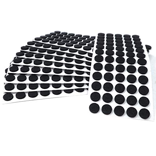 Adsamm | 600 x almohadillas de fieltro | Ø 14 mm | negro | redondo | Protectores de suelo para patas de mueble | auto-adhesivos | con grosor de 3,5 mm de la máxima calidad