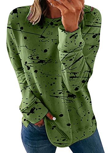 YMING Sudadera de manga larga para mujer, estilo informal, para otoño Ty-green XXL