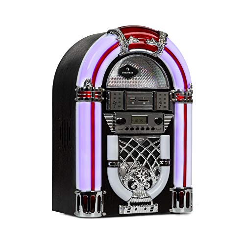 auna Arizona Jukebox Retro-Stereoanlage 50er Jahre Musikbox (Bluetooth, 2 x 2 Watt RMS, LED-Beleuchtung, UKW Radio, USB-Port, MP3-fähiger CD-Player, SD-Slot, Eichenholz) schwarz