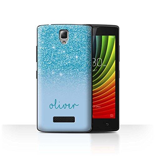 Personalisiert Hülle Für Lenovo A2010 Persönlich Glitter Effekt Türkis Design Transparent Ultra Dünn Klar Hart Schutz Handyhülle Hülle