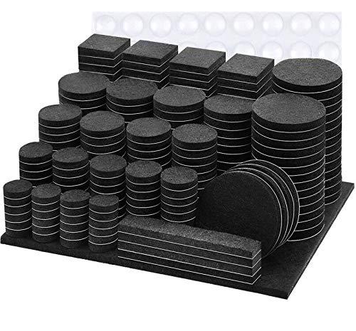Filzgleiter Selbstklebend,300 Stück - Schwarz Premium Filz Pads,5mm Dicker Möbelgleiter Starker Klebepads Effektiver Schutz Stuhl,Möbel,Tische (Eckig und Rund) Bodengleiter Möbelfilz Filzgleiter Set