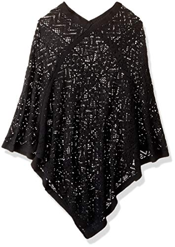 Britt's Knits Comfort - Poncho tela, color negro