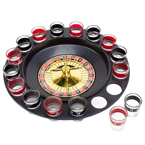 Roulette Drinking Game with 16 Black and Red Shot Glasses by The Brewski Brothers