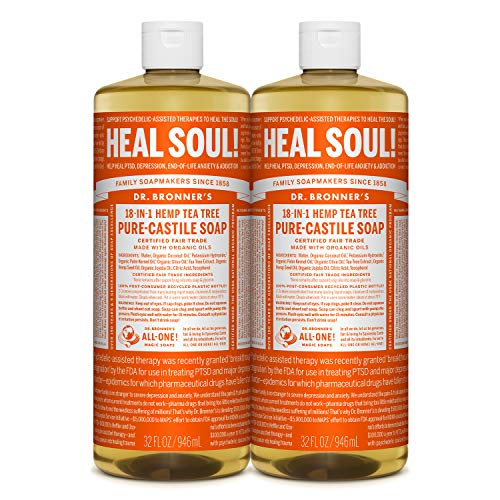 Dr. Bronner's - Pure-Castile Liquid Soap (Tea Tree, 32 ounce, 2-Pack) - Made with Organic Oils, 18-in-1 Uses: Acne-Prone Skin, Dandruff, Laundry, Pets and Dishes, Concentrated, Vegan, Non-GMO