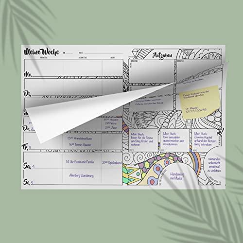 Planificador semanal Bloc A4 sin fecha fija (50 hojas), calendario semanal con lista de tareas, planificador de papel para escritorio, planificador de tareas (atención)