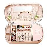 FCSFSF Organizador de Joyas Caja de joyería de Viaje Borlas de Cuero de imitación Organizador Estuche de Almacenamiento de exhibición Bolsos para Llevar con Espejo (Color: Rosa)
