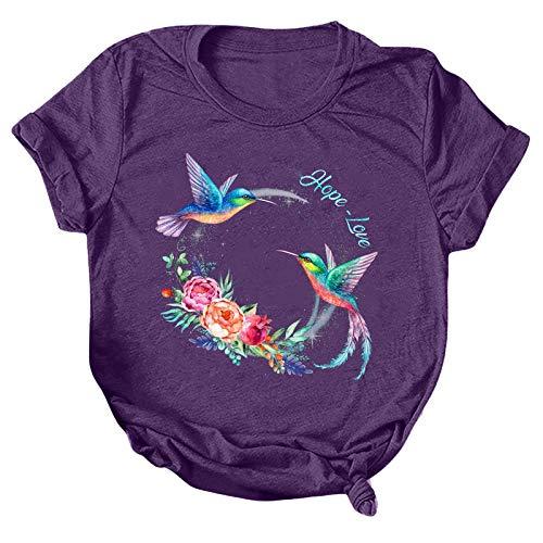 T-Shirt Damen mit O-Ausschnitt T-Shirt Bluse Tops Frauen Casual Letter Printing Kurzarm O-Neck Loose (XXL,3lila)