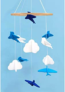Baby Crib Mobile Birds and Clouds Felt Baby Mobile Nursery Ceiling Decoration for Girls and Boys,Blue and White