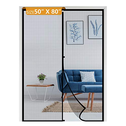 Yotache Reinforced Sewing Magnetic Screen Door Fits Door Size 50 x 80 for Sliding Glass Door and French Door, Fit Doors Size Up to 50'W x 80'H Max