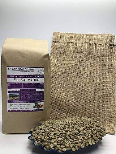5 Pounds – Northern Central America – El Salvador – Unroasted Arabica Green Coffee Beans – Grown Region Cuzachapa – Altitude 1200 Meters – Drying/Milling Process Is Fully Washed - Includes Burlap Bag