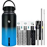 GoFiltr Super Kit | 4X Ionized Mineral Infusers | One 32 oz (950ml) Vacuum Insulated Stainless Steel Water Bottle Wide Mouth | + Telescopic Straw With Brush and Case | Gift Packed | Azure