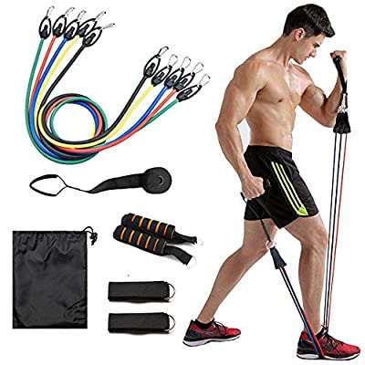 NIUFIT Resistance Bands Set Exercise Bands with Door Anchor Handles Carry Bag Legs Ankle Straps for Indoor Training Muscle Strength Training Equipment Home Workouts S05