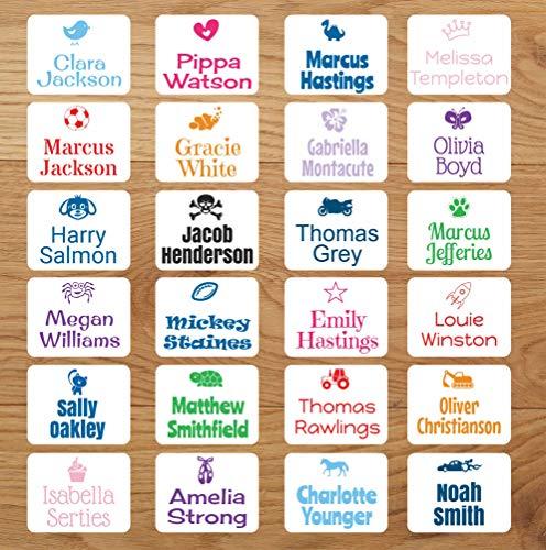 Klebeetiketten für Kleidung, Namensetiketten zum Aufkleben, personalisierbar, mit Bild und Name, kein Bügeln 22mm x 18mm (30)