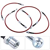 AJP Distributors Compatible/Replacement For Supra Mark 3 Mk3 Front Rear Red Stainless Steel Braided Oil Brake Line Cable Hose Black End Cap