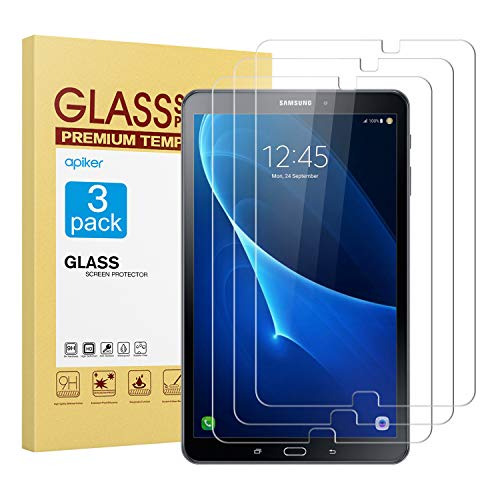 [3 Packs] apiker Protector Pantalla Tablet Compatible con Samsung Galaxy Tab A 10.1 Pulgadas 2016(T580/T585), Cristal Vidrio Templado Tablet Premium [9H Dureza] [Alta Definición] [3D Touch]