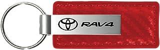 Au-Tomotive Gold, INC. Carbon Fiber Leather Key Fob for Toyota RAV4 Red - KC1552.RAV-1