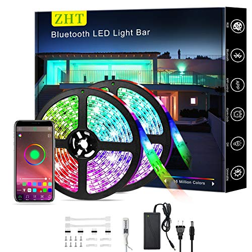 Bluetooth LED Strip Lights 32.8ft/10M App Control, ZHT Sync with Music RGB Color Changing Strip Light for Bedroom Ceiling Kitchen & TV, Rope Light 300pcs Led Waterproof IPX65, Safety Use.