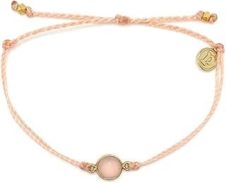 Pura Vida Gold Gemstone Bracelet - Waterproof, Artisan Handmade, Adjustable, Threaded, Fashion Jewelry for Girls/Women