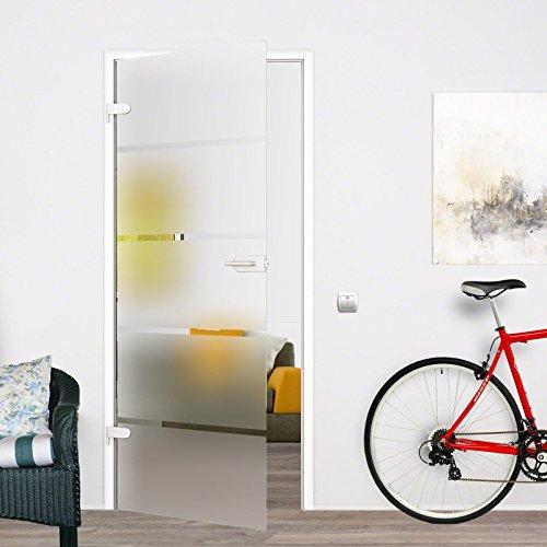 BP1-709L-UV: Glasdrehtür, ESG Glas 709x1972x8mm, DIN links, Siebdruck P1, mit Beschlag inkl. Schlosskasten UV unverschliessbar
